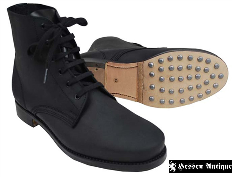 German Black Low Boots with Hobnails w/ Heavy Duty Soles (2118029)