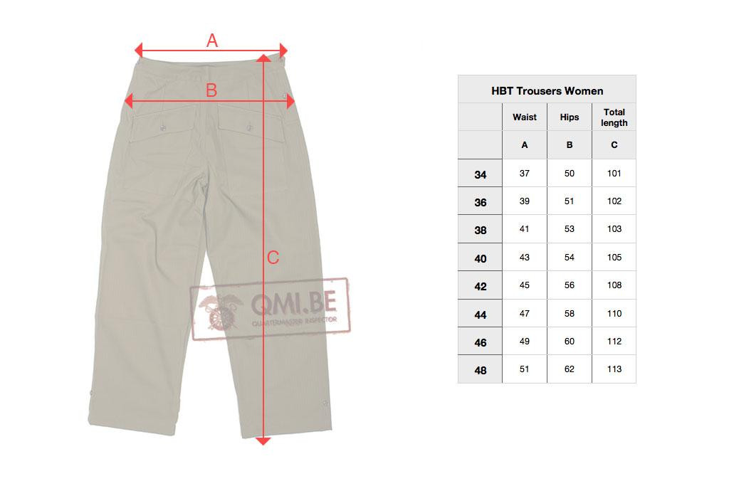 HBT trousers women - Fit Guide (in centimeters)