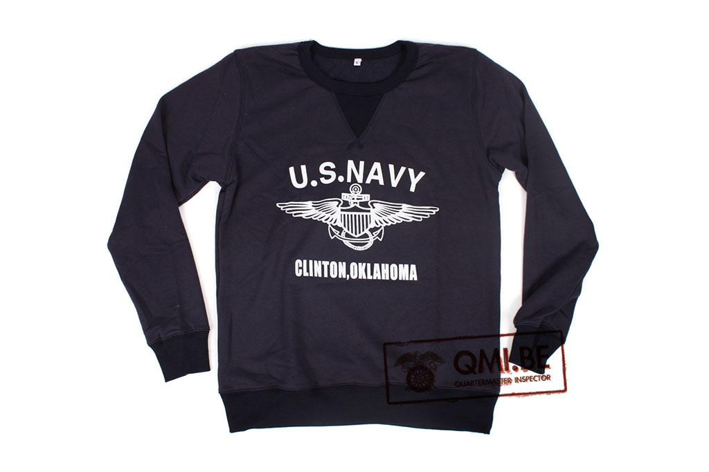 """Sweater, Blue, """"U.S. NAVY, Clinton, Oklahoma"""""""