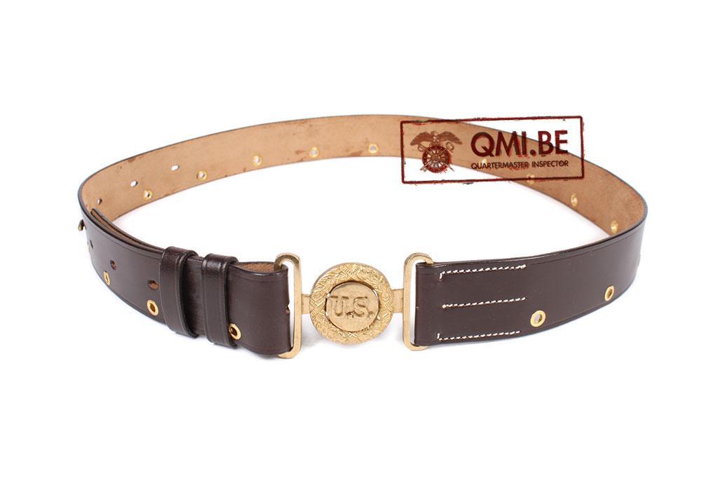 Officers leather garrison belt w/ brass eyelets, US buckle
