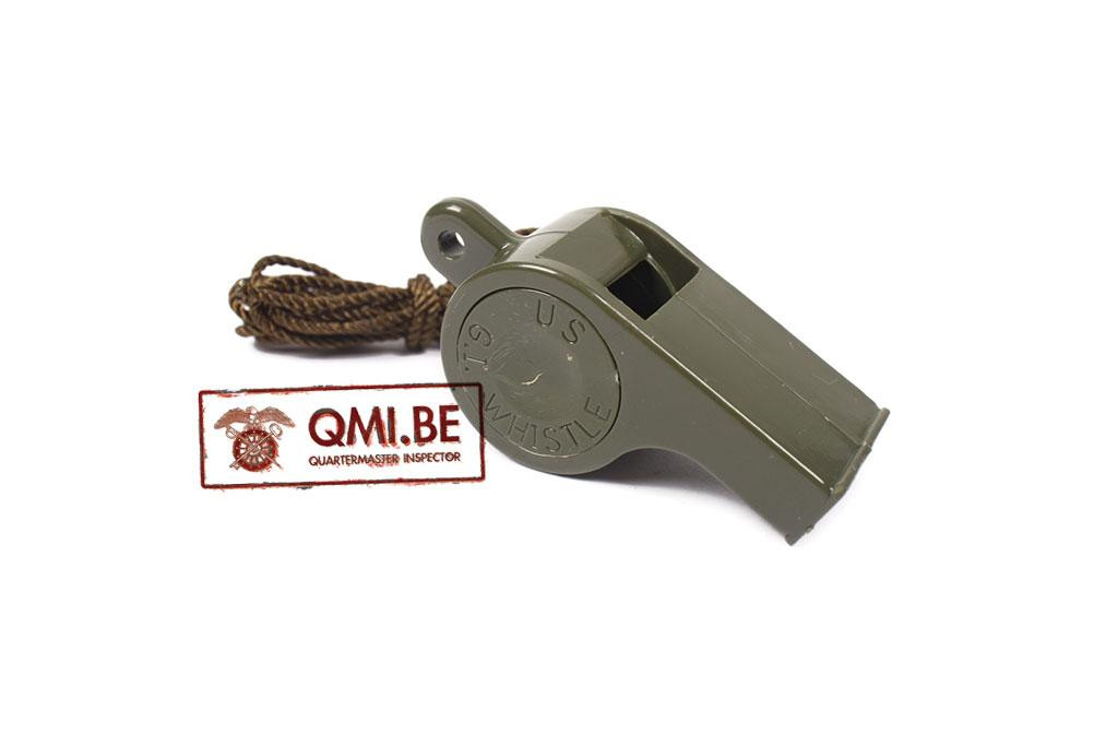 G.I. Whistle, Green plastic, with lanyard