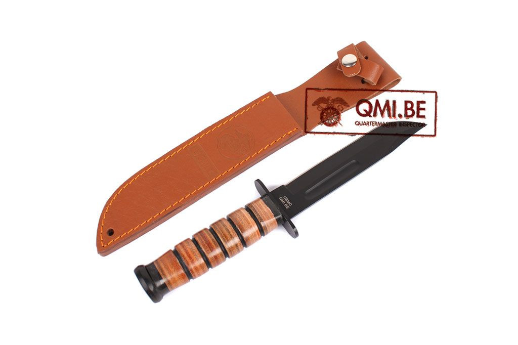 USMC K-Bar Knife + leather scabbard
