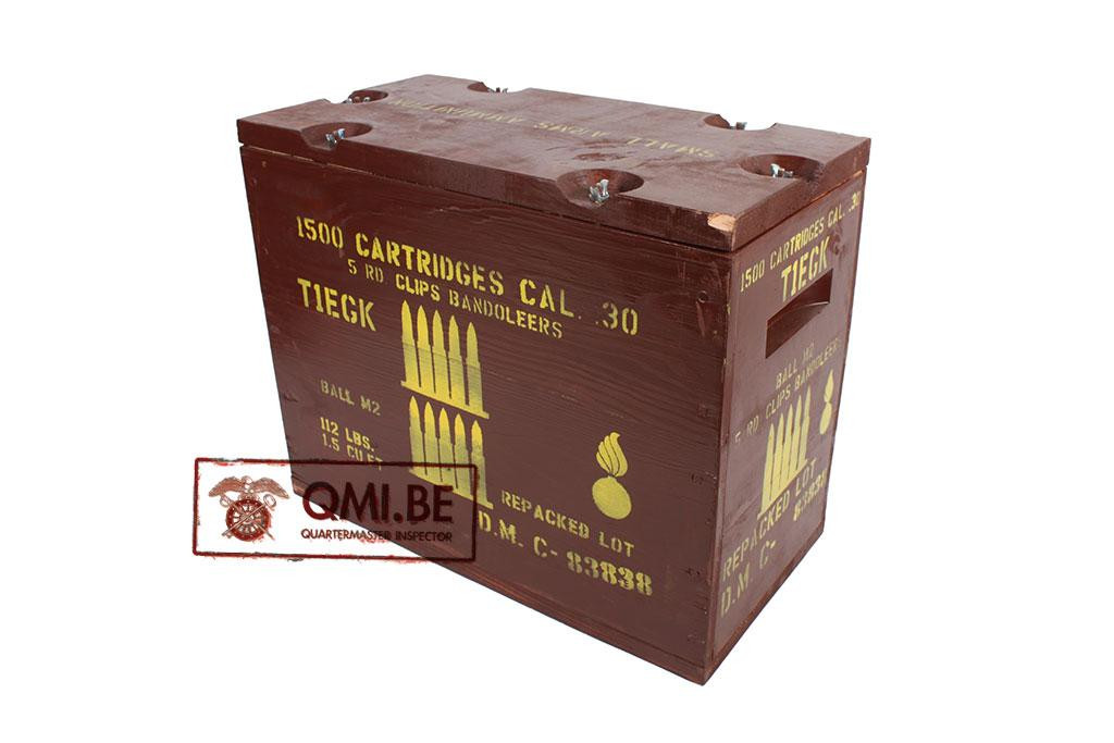 Wooden Ammo Crate (Cal..30 5RD. Clips Bandoleers)