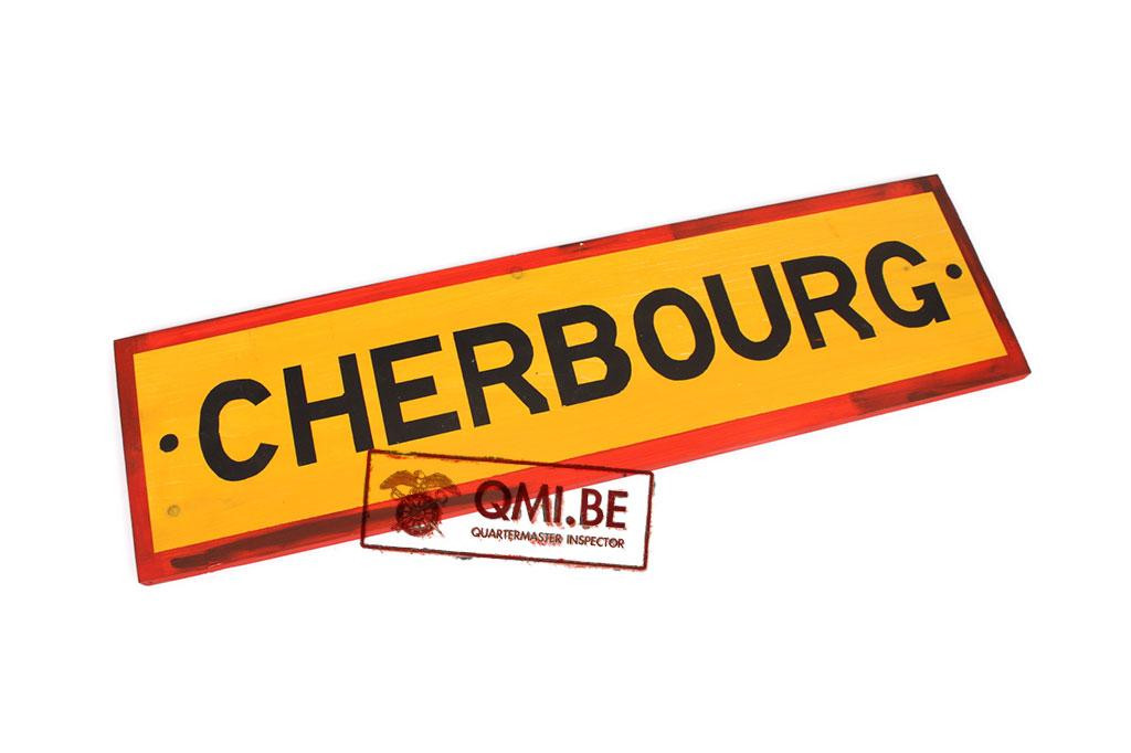 Wooden road sign, Cherbourg