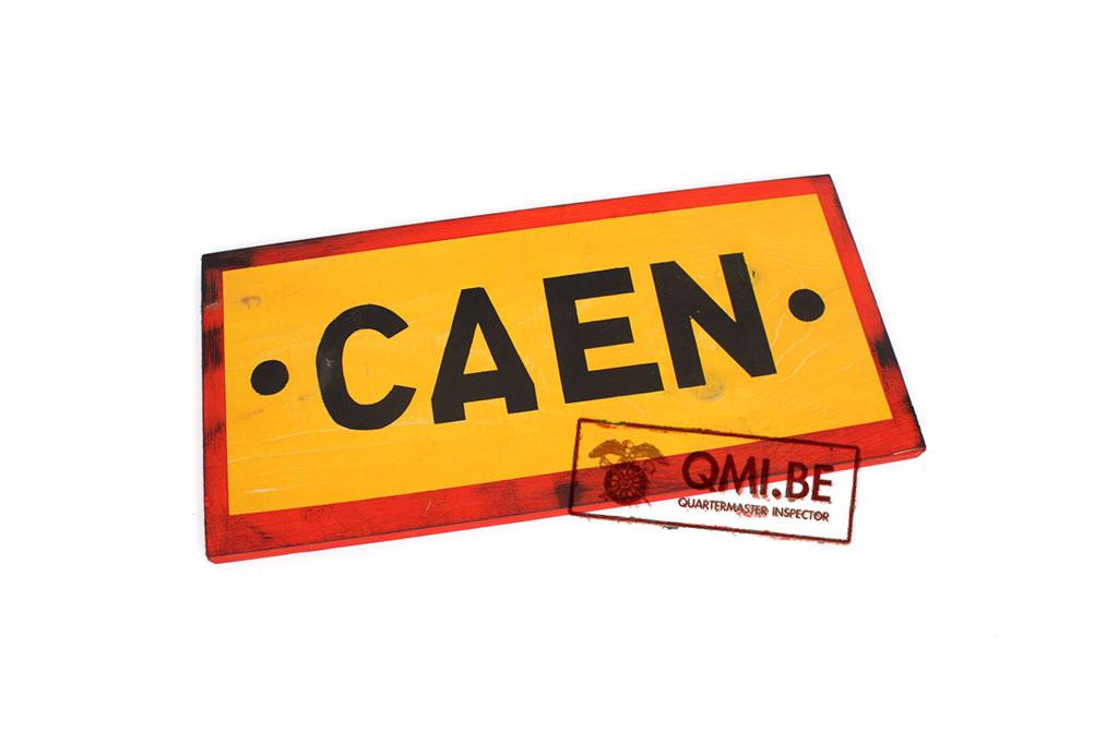 Wooden road sign, Caen