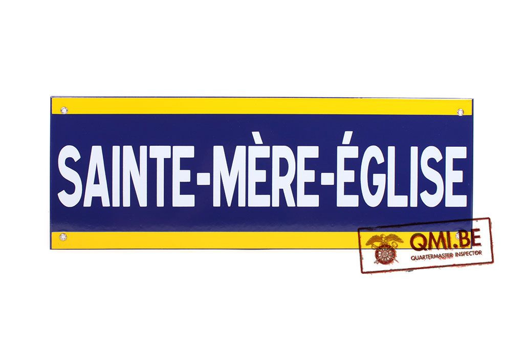 Sign, Road, SAINTE MÈRE EGLISE, Enameled (50 x 18 cm)