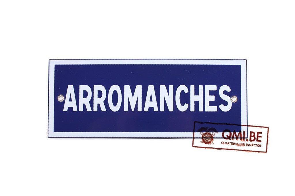 Sign, Road, ARROMANCHES, Enameled (25 x 10 cm)