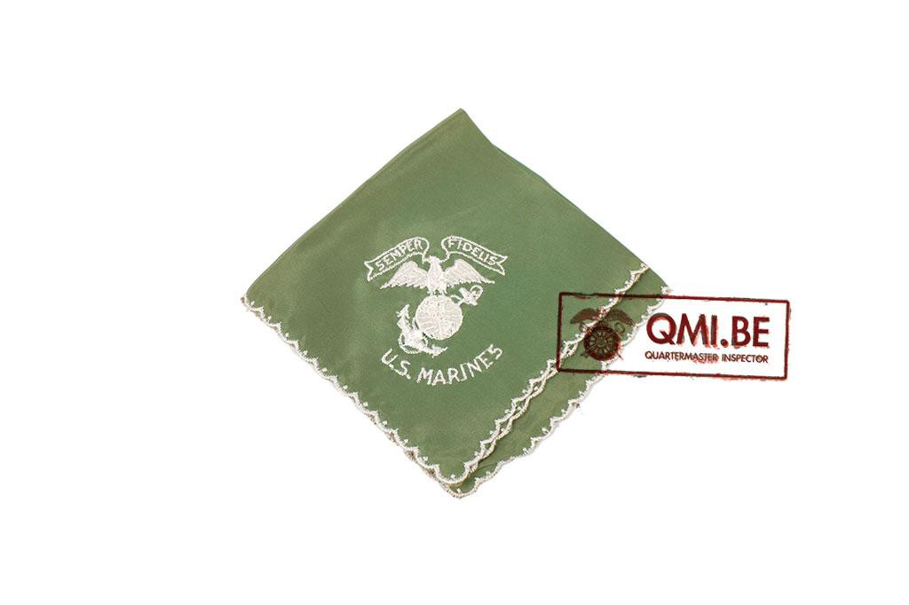 "Original WW2 ""Sweetheart"" handkerchief, USMC (green)"
