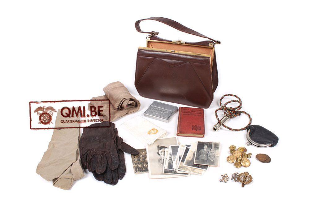Original WW2, ATS women's purse with content