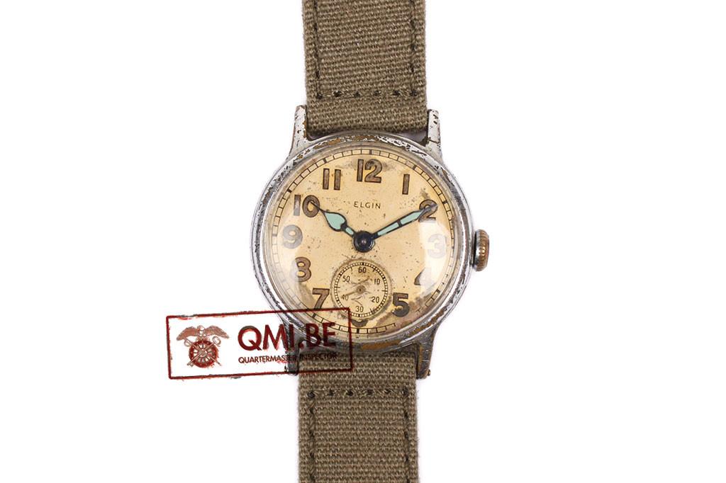 Original WW2 US Army Watch by Elgin (OD strap)