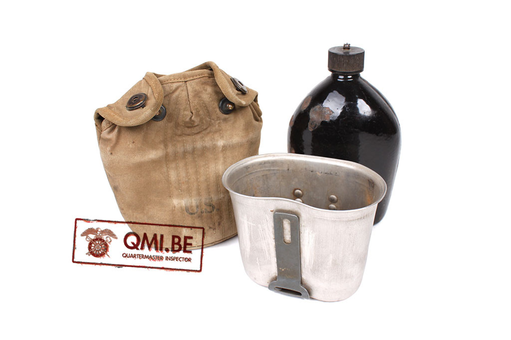 Original US WW2, Water bottle / Emaille Canteen 1942, Cup 1944 + Cover 1942