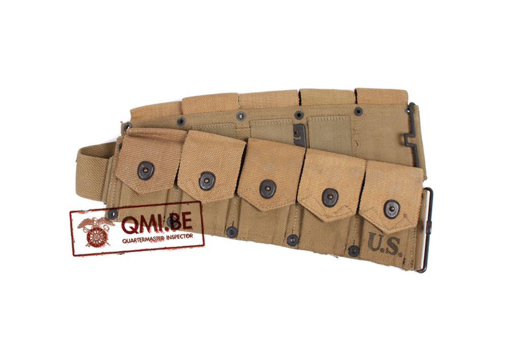 Original US WW2, Garand M1923 Cartridge Belt, Hinson Mfg. Co. 1942 (NOS)