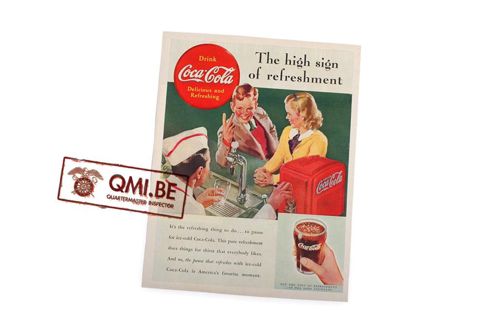 """Orig. WW2 advertisement """"Coca-Cola, The high sign of refreshment"""""""