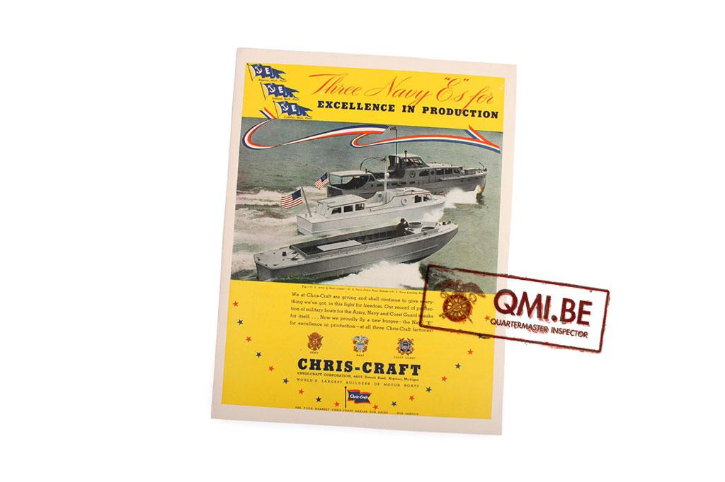 "Orig. WW2 advertisement ""Chris-Craft Motor boats, Three Navy E's…"""
