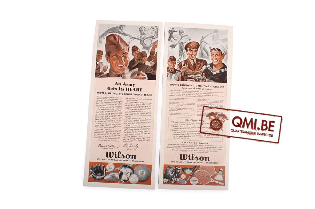 "Orig. WW2 advertisement ""Wilson, Sports Equipment"""