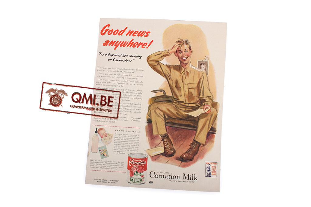 "Orig. WW2 advertisement ""Carnation Milk"""