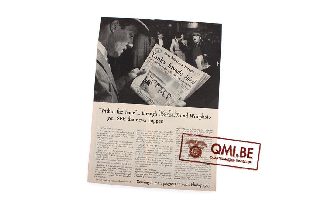 "Orig. WW2 advertisement ""Kodak, Serving human progress through Photography"""