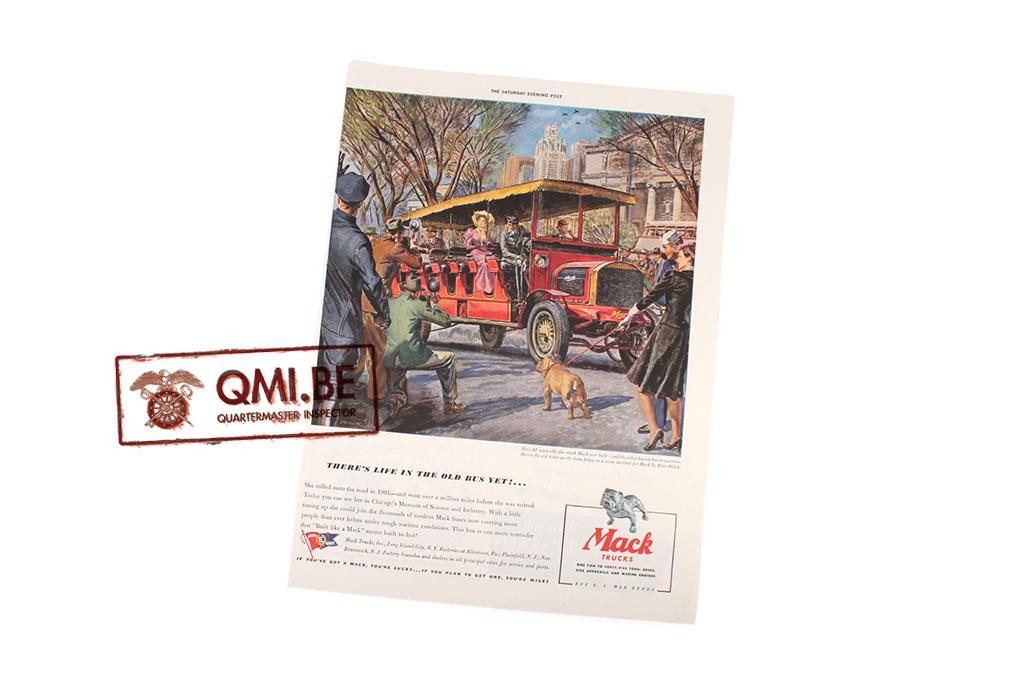 "Orig. WW2 advertisement ""Mack Trucks, There's Life in the Old Bus Yet!…"""
