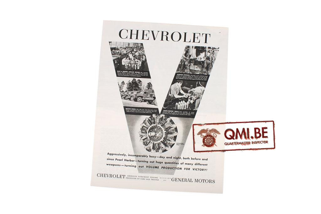 "Orig. WW2 advertisement ""Chevrolet, Volume Production For Victory!"""