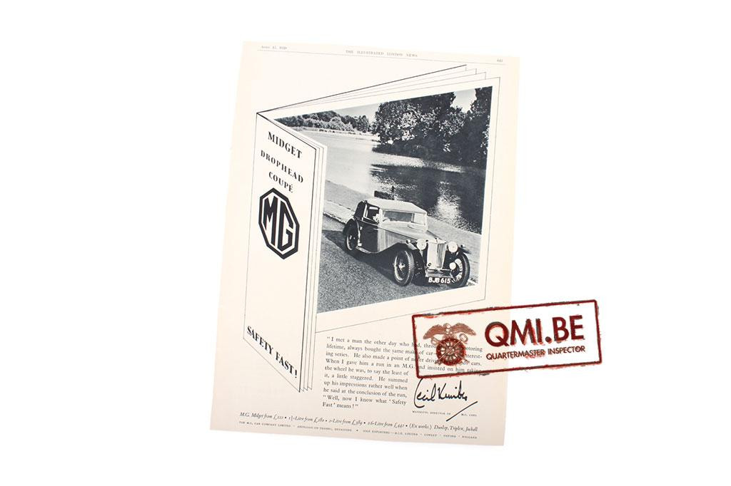 "Orig. WW2 advertisement ""MG, Midget Drophead Coupé"""