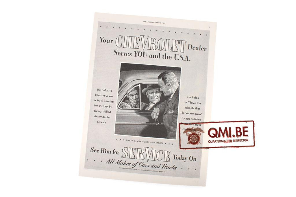 """Orig. WW2 advertisement """"Chevrolet, Serves YOU and the U.S.A."""""""