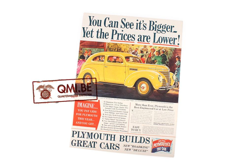 "Orig. WW2 advertisement ""Plymouth, You Can See it's Bigger_"""