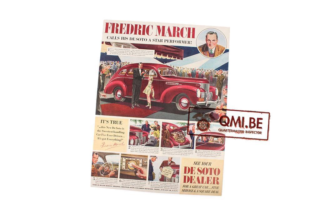 "Orig. WW2 advertisement ""Desoto, Fredric March"""