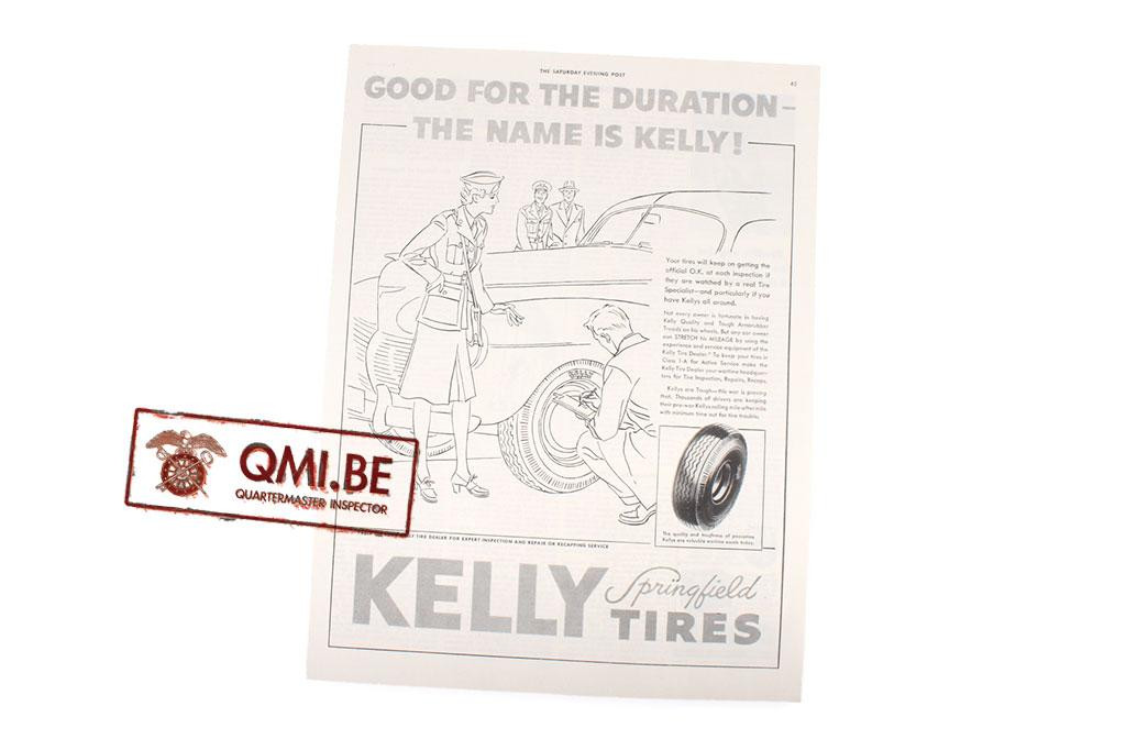 "Orig. WW2 advertisement ""Kelly Tires, Good for the Duration"""