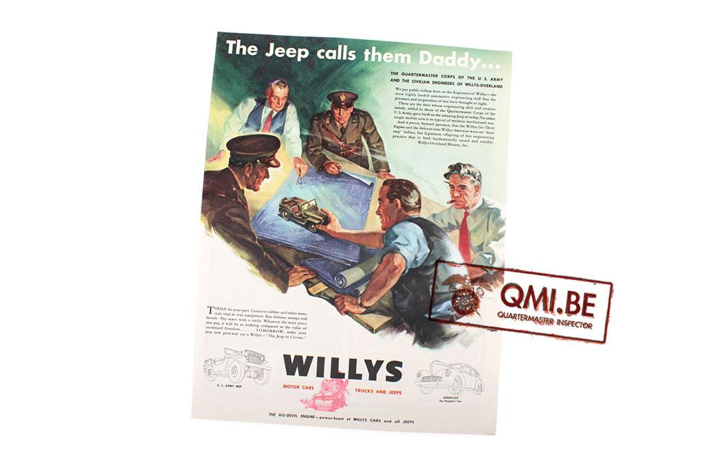 "Orig. WW2 advertisement ""Willys, The Jeep calls them Daddy…"""