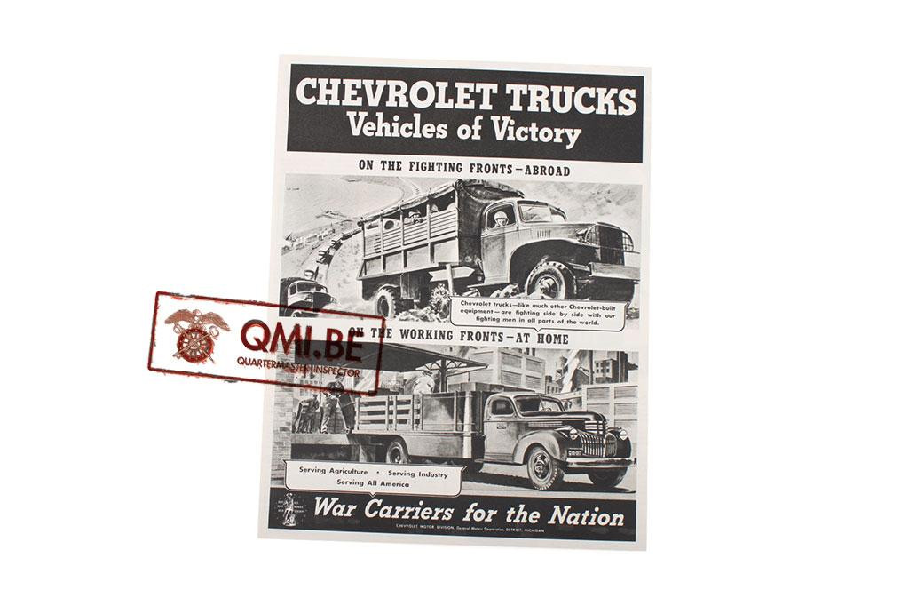 """Orig. WW2 ad. """"Chevrolet Trucks, Vehicles of Victory. War Carriers for the Nation"""""""