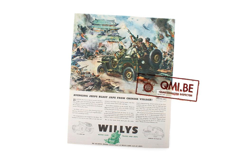 """Orig. WW2 ad. """"Willys, Avenging Jeeps Blast Japs from Chinese Village!"""""""