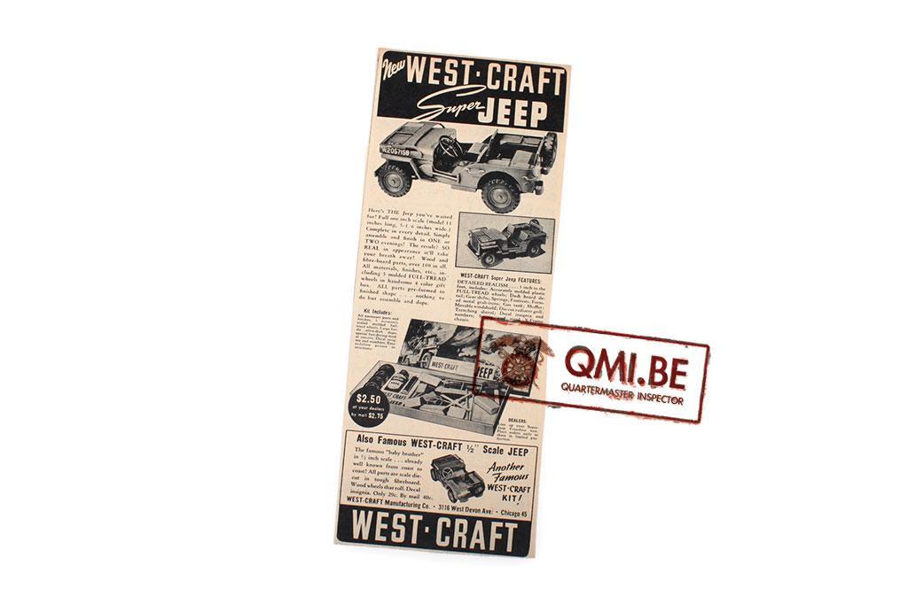 "Orig. WW2 ad. ""West-Craft, Super Jeep"""