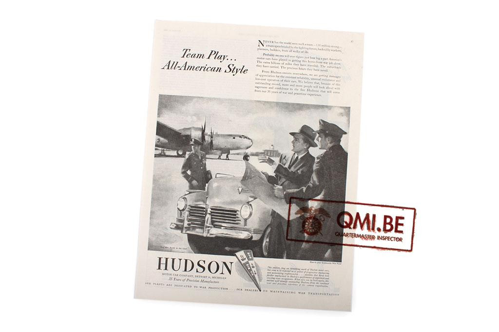 "Orig. WW2 ad. ""Hudson, Team Play… All-American Style"""