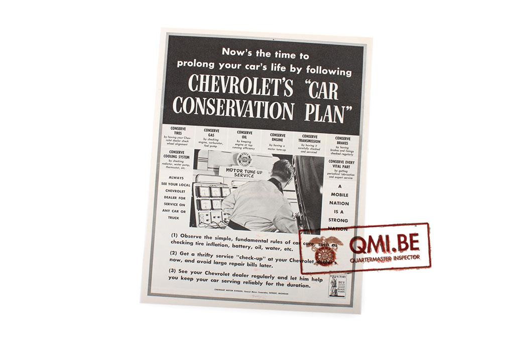 "Orig. WW2 ad. ""Chevrolet's, Car Conservation plan"""