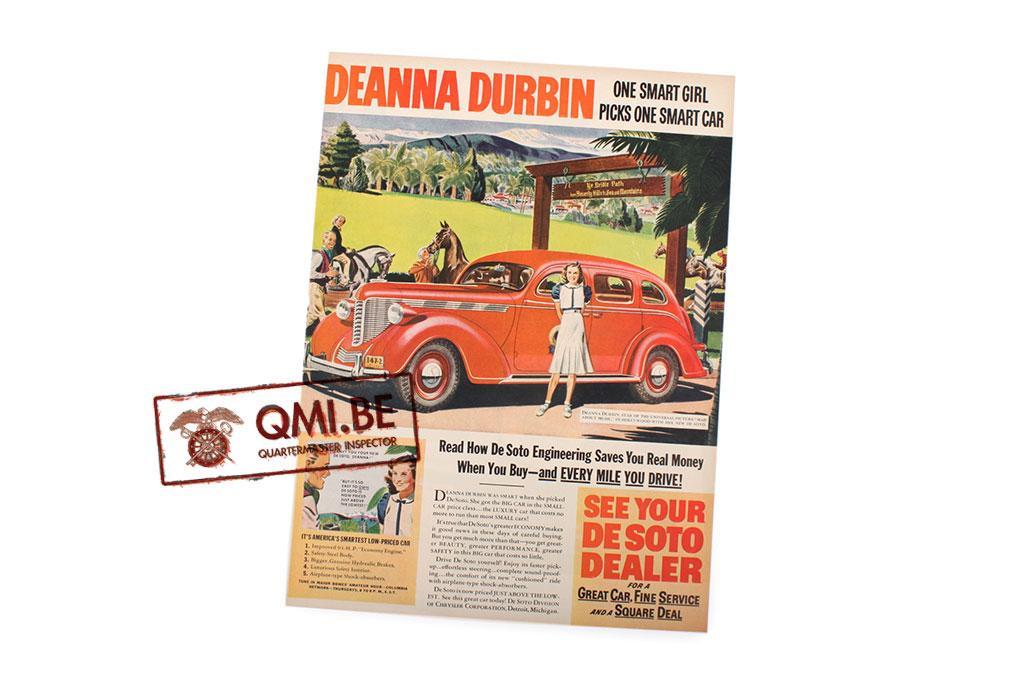 "Orig. WW2 ad. ""De Soto, Deanna Durbin One Smart Girl…"""