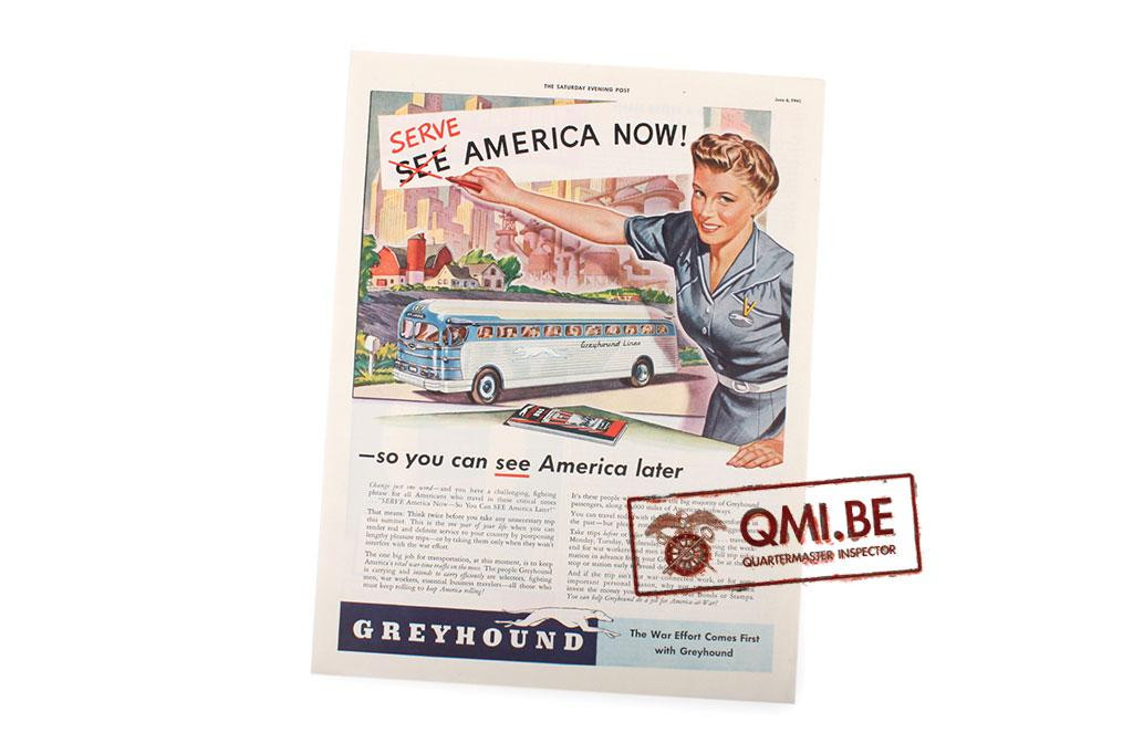 "Orig. WW2 ad. ""Greyhound, Serve America Now! -So you can see America later"""