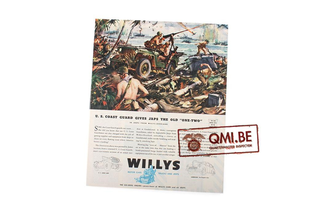 "Orig. WW2 ad. ""Willys, U.S. Coast Guard Gives Japs the Old One-Two"""