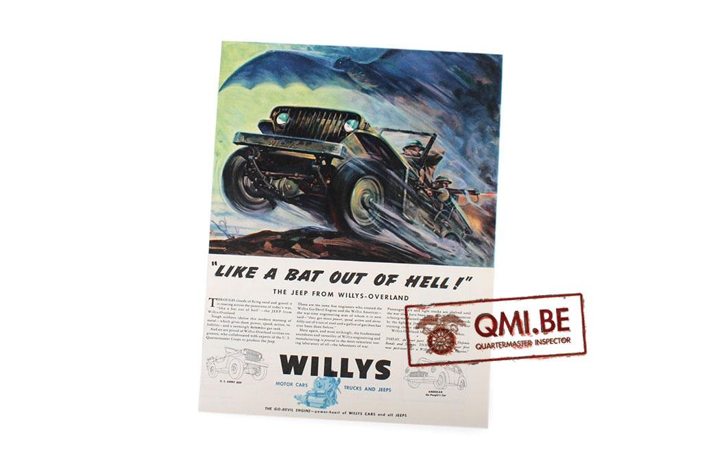 "Orig. WW2 ad. ""Willys, Like A Bat out of Hell!"""