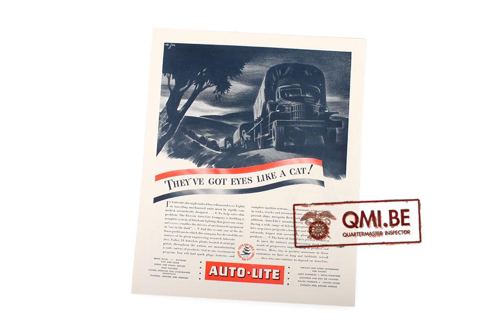 "Orig. WW2 ad. ""Auto-Lite, They've Got Eyes Like A Cat!"""