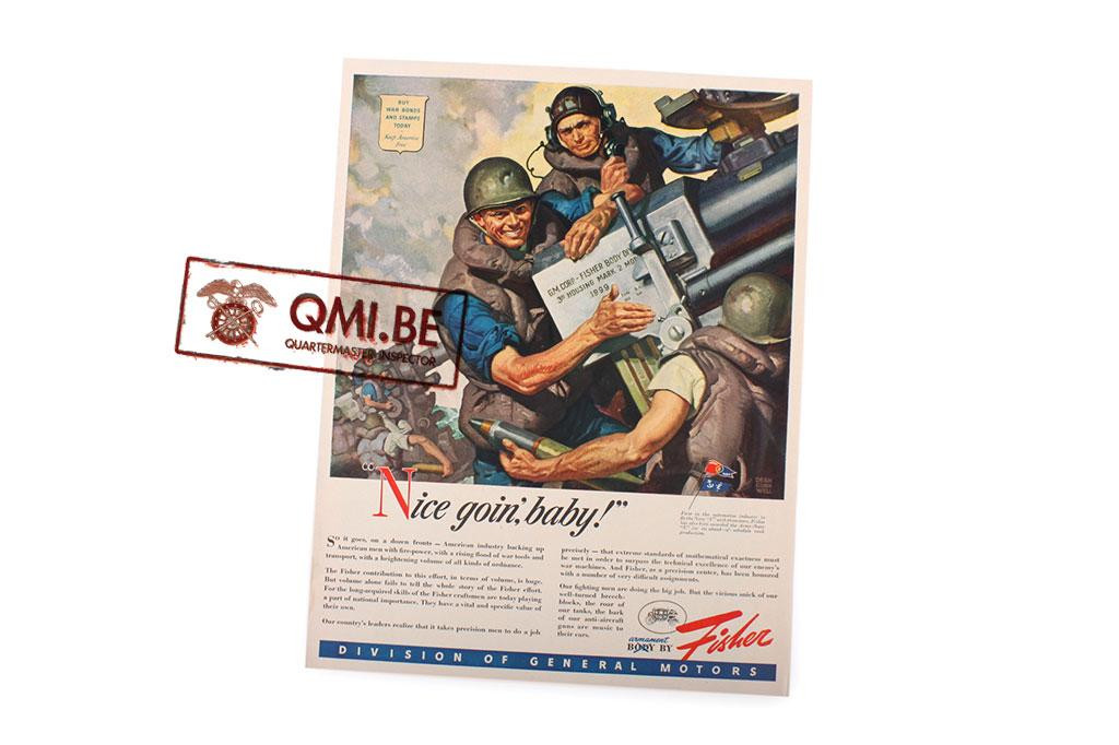 "Orig. WW2 ad. ""Fisher, Nice Goin',Baby!"""