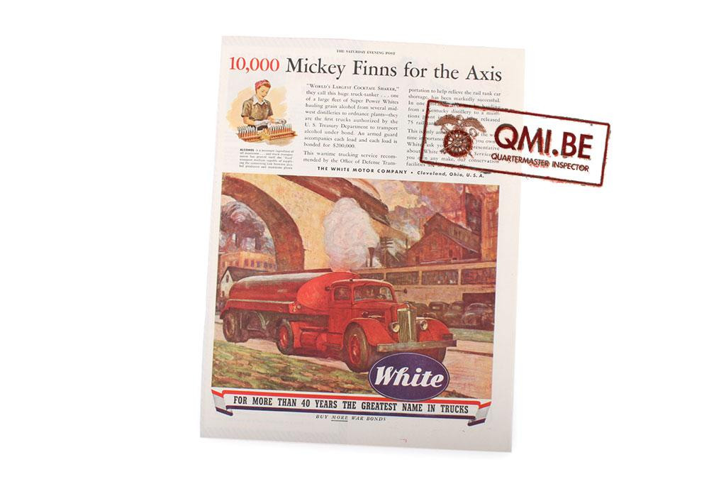 "Orig. WW2 ad. ""White Trucks, 10.000 Mickey Finns for the Axis"""