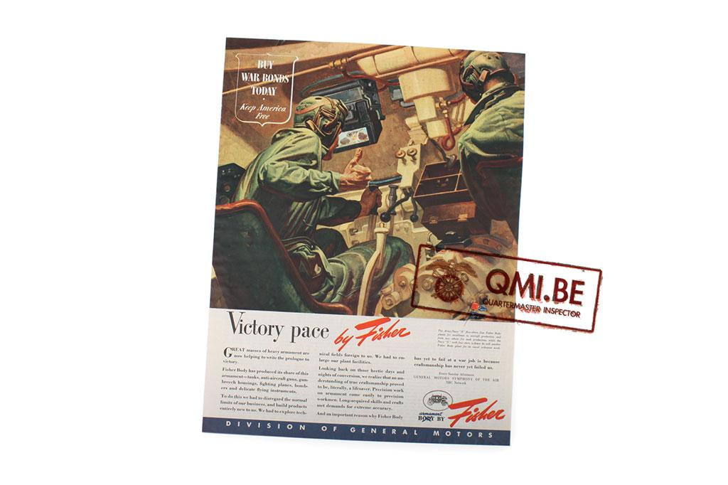 "Orig. WW2 ad. ""Fisher, Victory Pace"""