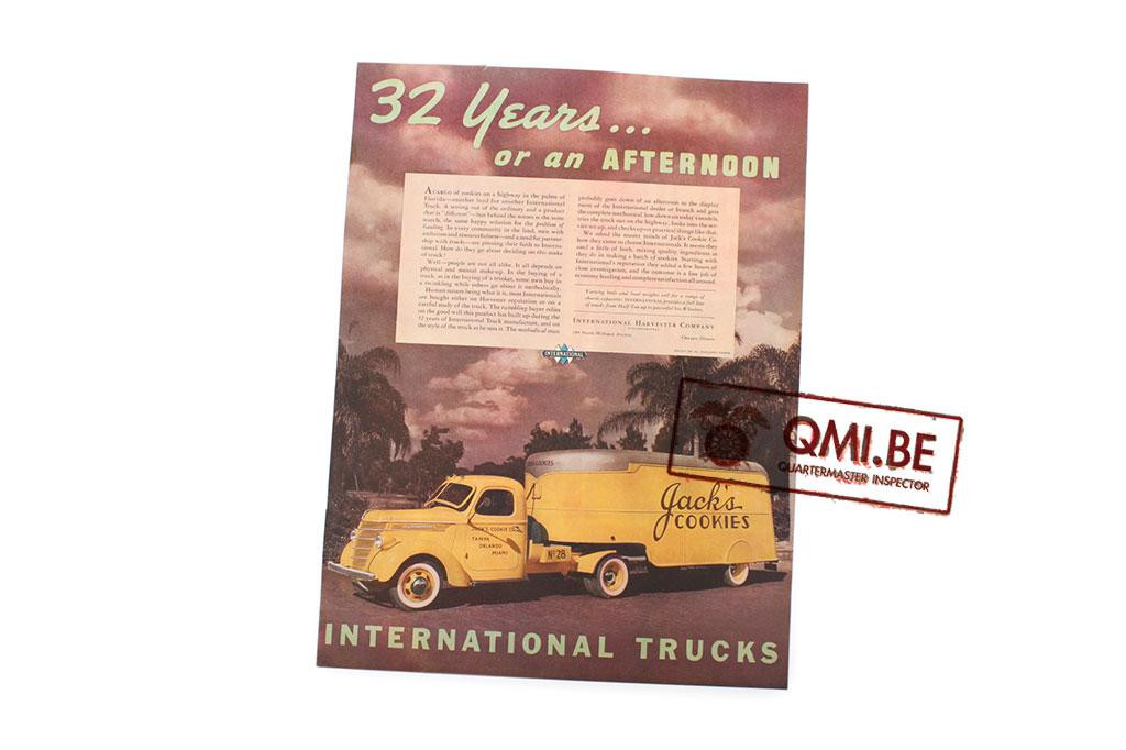 "Orig. WW2 ad. ""International Trucks, 32 Years… or an afternoon"""