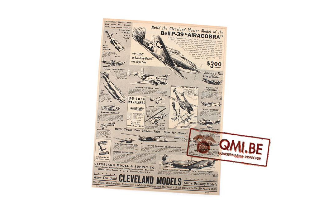 """Orig. WW2 ad. """"Cleveland Models, Bell P-39 AIRACOBRA"""""""