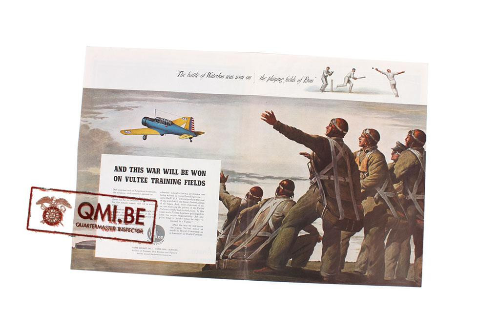 "Orig. WW2 ad. ""Vultee, …and this war will be won on Vultee Training fields"""