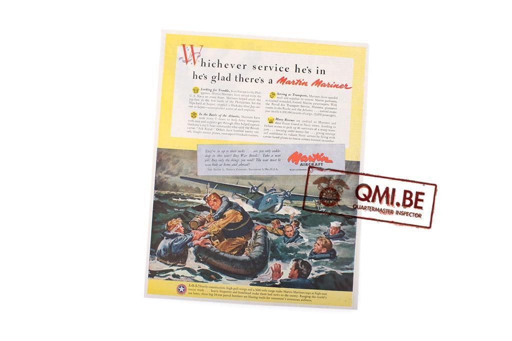 "Orig. WW2 ad. ""Martin Aircraft, Martin Mariner"""