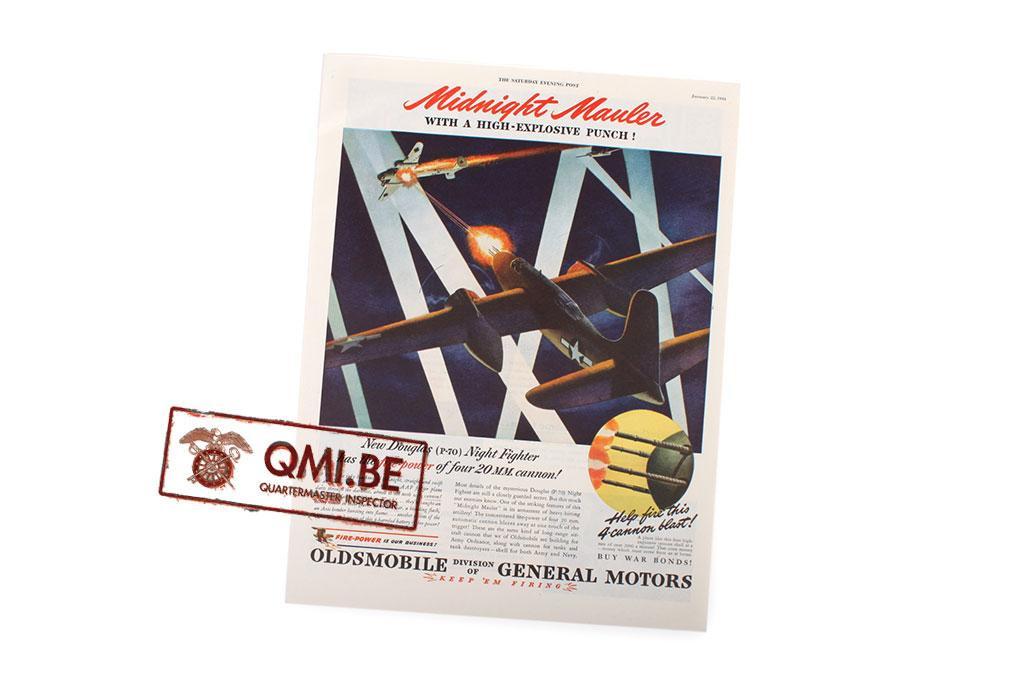 "Orig. WW2 ad. ""Oldsmobile, New Douglas (P-70) Night Fighter…"""