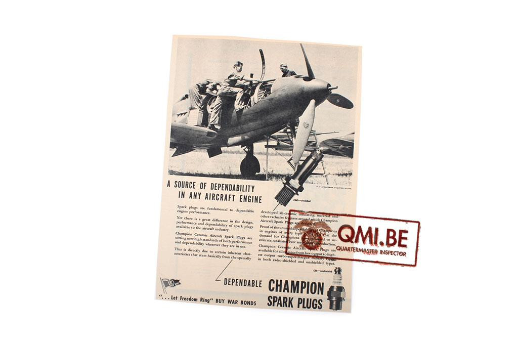 """Orig. WW2 ad. """"Champion Spark Plugs, A Source of Dependability"""""""
