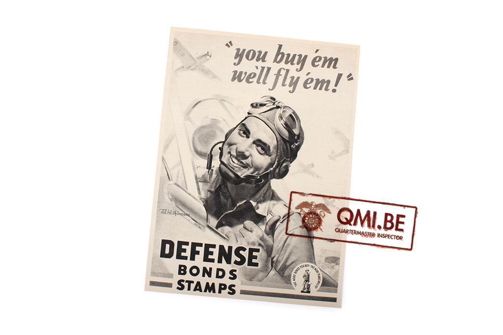 """Orig. WW2 ad. """"Defense Bonds Stamps, You buy 'em we'll fly 'em!"""""""