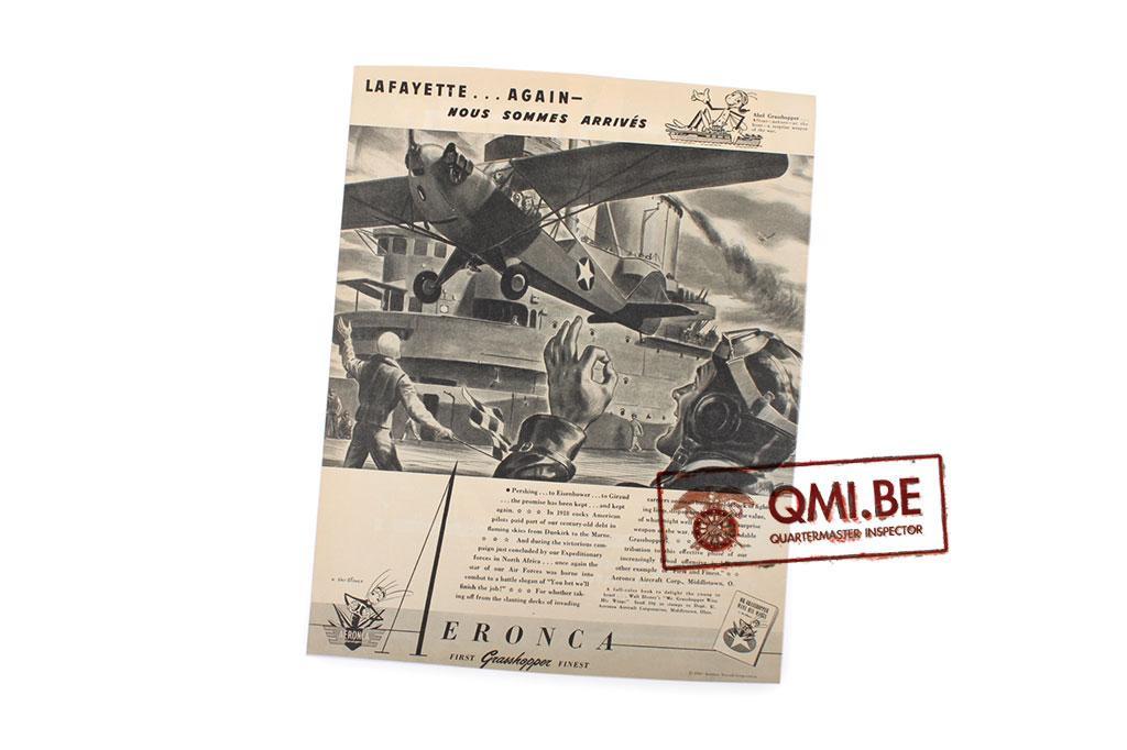"""Orig. WW2 ad. """"Aeronca, LaFayette… Again - Nous Sommes Arrivés"""""""